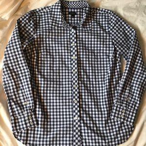 Talbots cotton blue/white check long sleeve shirt